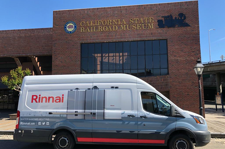 A Try Rinnai Van on tour in front of the California State Railroad Museum in Sacramento California